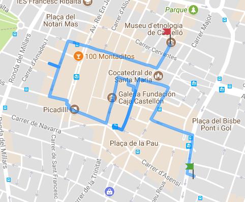 Mapa de la ruta literària pel centre de Castelló